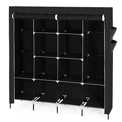 songmics xxxl deluxe h he 180 cm kleiderschrank hochf en faltschrank stoffschrank mit 2. Black Bedroom Furniture Sets. Home Design Ideas