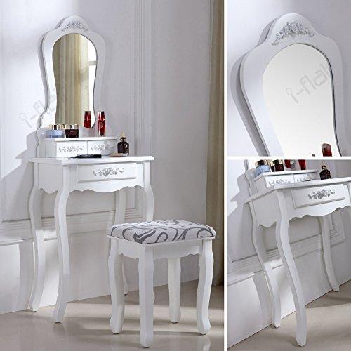 schminktisch spiegeltisch spiegel inkl sitzbank im barockstil wei 53 x potibe. Black Bedroom Furniture Sets. Home Design Ideas