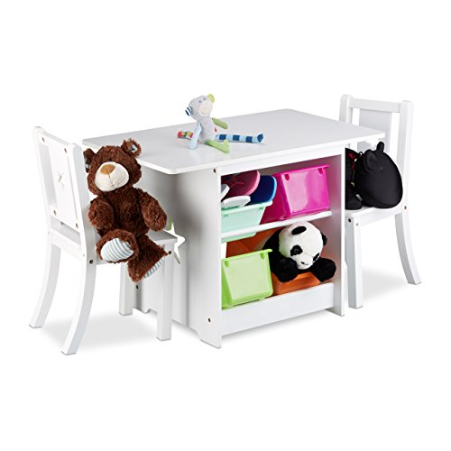 relaxdays kindersitzgruppe albus mit stauraum 1 tisch und 2 st hle aus holz kindertischgruppe. Black Bedroom Furniture Sets. Home Design Ideas
