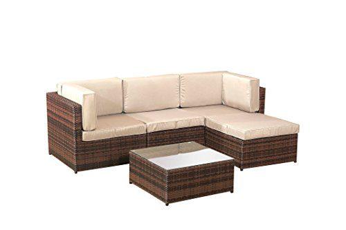 5 x terrasse lounge rattan ecksofa garten m bel sets braun potibe. Black Bedroom Furniture Sets. Home Design Ideas