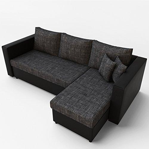 stellma 224 x 144 cm liegema 200 x 140 cm ecksofa mit schlaffunktion grau schwarz sofa. Black Bedroom Furniture Sets. Home Design Ideas