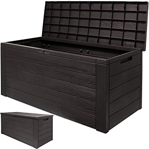 120x46x57cm kissenbox gartenbox truhe tischtruhe auflagenbox woody holzoptik mit klappbarem. Black Bedroom Furniture Sets. Home Design Ideas