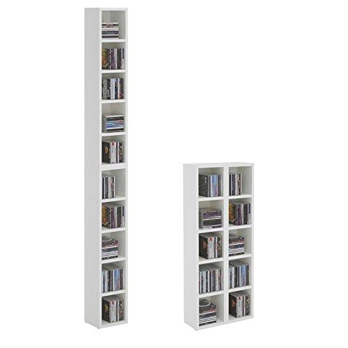 cd dvd regal st nder aufbewahrung chart in wei mit 10 f chern f r bis zu 160 cds 20 186 5 cm. Black Bedroom Furniture Sets. Home Design Ideas