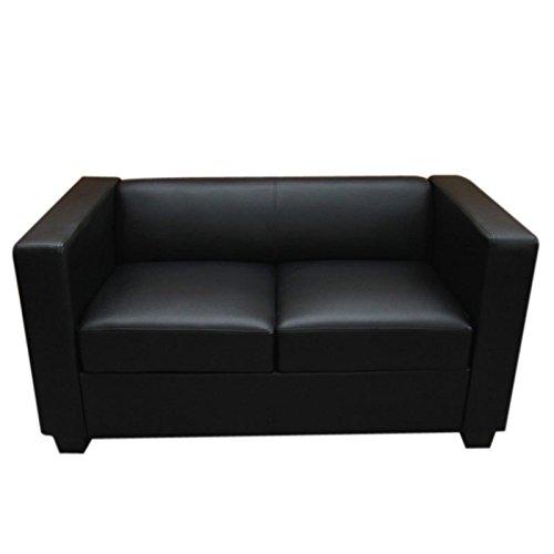 2er sofa couch loungesofa lille leder schwarz potibe. Black Bedroom Furniture Sets. Home Design Ideas