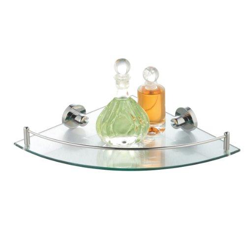 eckregal bad wc eck glasregal badezimmer regal aus chrom mit glasablage klar eckablage. Black Bedroom Furniture Sets. Home Design Ideas