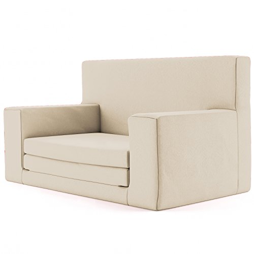 2 in 1 kindersofa in sandfarben mit waschbarem berzug weich sicher ausklapp spielzeug sessel. Black Bedroom Furniture Sets. Home Design Ideas