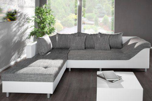 gro es ecksofa sultan weiss strukturstoff grau ot links potibe. Black Bedroom Furniture Sets. Home Design Ideas