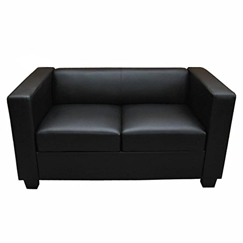 2er sofa couch loungesofa lille kunstleder schwarz potibe. Black Bedroom Furniture Sets. Home Design Ideas