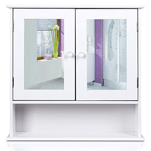 homfa landhaus spiegelschrank h ngeschrank mit 2 spiegelt r wandschrank badschrank k chenschrank. Black Bedroom Furniture Sets. Home Design Ideas