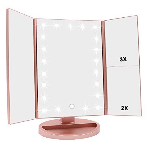 schminkspiegel mit beleuchtung faltbarer kosmetikspiegel mit 3x 2x 1x vergr erung 21. Black Bedroom Furniture Sets. Home Design Ideas