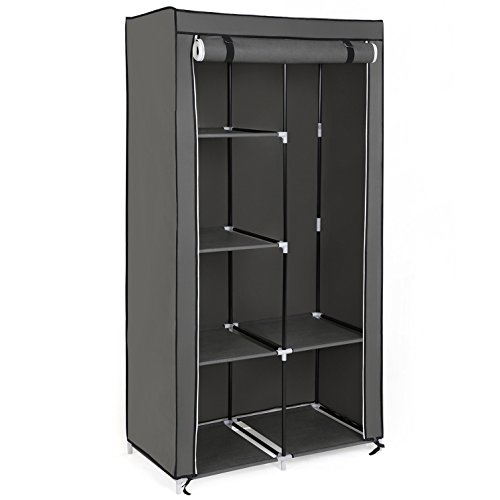 songmics xl kleiderschrank stoffschrank faltschrank mit 2 kleiderstange belastbar bis 25 kg 7. Black Bedroom Furniture Sets. Home Design Ideas