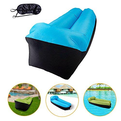 hiser air lounger tragbares aufblasbares sofa langer aufblasbarer stuhl mit integriertem kissen. Black Bedroom Furniture Sets. Home Design Ideas