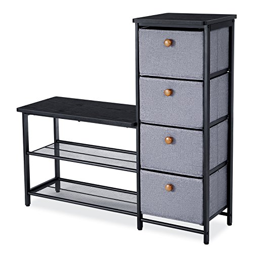 songmics schuhbank schuhregal mit schublade sitzbank schrank f r flur eingangsbereich 93 7 x. Black Bedroom Furniture Sets. Home Design Ideas