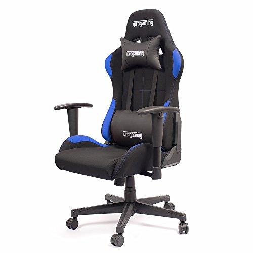 Iprotect gaming stuhl schreibtisch und b rostuhl f r gamer mit stoffbezug in schwarz blau - Burostuhl bis 200 kg ...