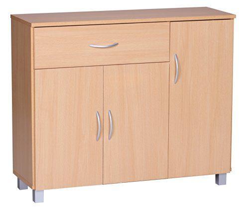 wohnling sideboard jarry 1 schublade 3 t ren tief kommode anrichte aus holz b ro esszimmer flur. Black Bedroom Furniture Sets. Home Design Ideas