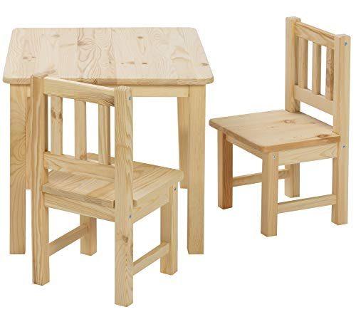 BOMI Stabile Kindermöbel Tisch Mit Stühle Amy Aus Kiefer